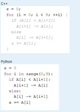 обрабатывает элементы одномерного целочисленного массива A с индексами от 0 до 9. Перед началом выполнения данного фрагмента эти элементы массива имели значения
